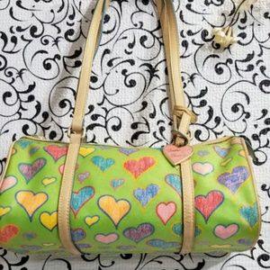 DOONEY& BOURKE VINTAGE HEART BARREL BAG